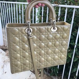 Dior Bags - PATENT LEATHER CANNAGE LADY DIOR LARGE BEIGE
